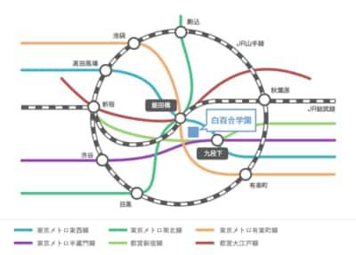 白百合学園中学高等学校の「アクセス」より。飯田橋に向かってあらゆる路線が集結する……!